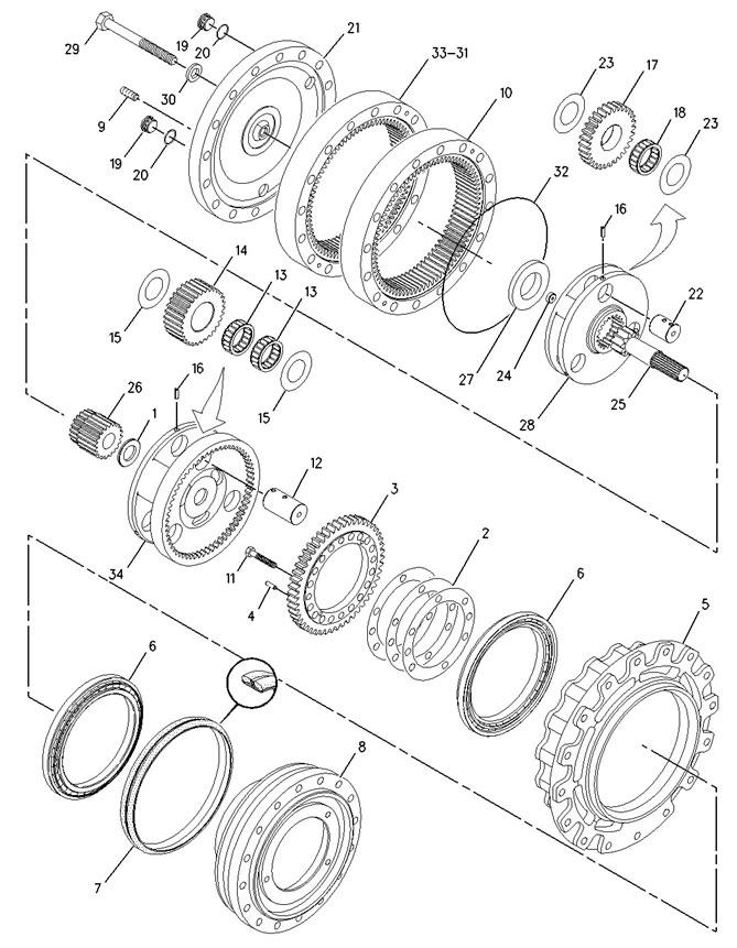 Схема бортового редуктора